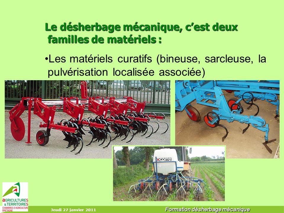 Jeudi 27 janvier 2011 Formation désherbage mécanique Le désherbage mécanique, cest deux familles de matériels : Le désherbage mécanique, cest deux fam