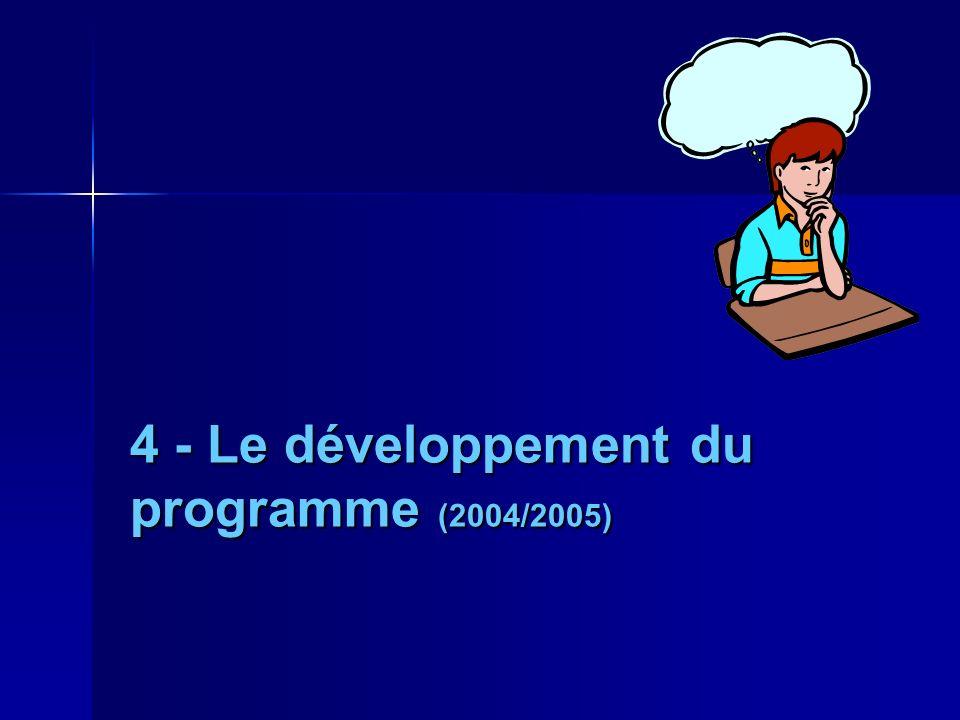 4 - Le développement du programme (2004/2005)