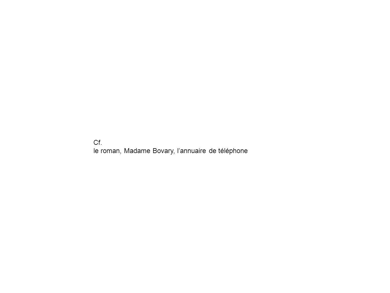 Cf. le roman, Madame Bovary, lannuaire de téléphone