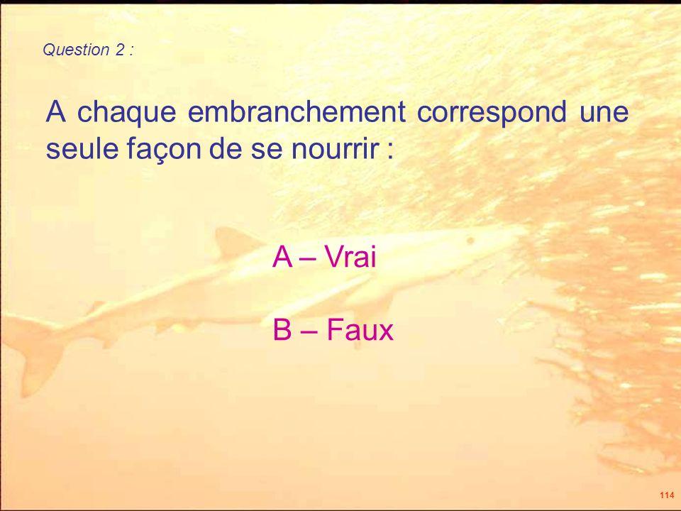 114 A chaque embranchement correspond une seule façon de se nourrir : A – Vrai B – Faux Question 2 :