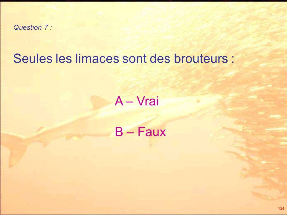 124 Seules les limaces sont des brouteurs : Question 7 : A – Vrai B – Faux