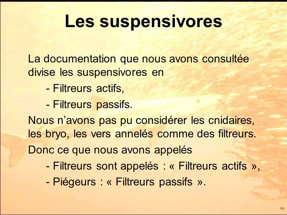 44 Les suspensivores La documentation que nous avons consultée divise les suspensivores en - Filtreurs actifs, - Filtreurs passifs.