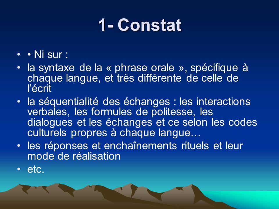 1- Constat Ni sur : la syntaxe de la « phrase orale », spécifique à chaque langue, et très différente de celle de lécrit la séquentialité des échanges