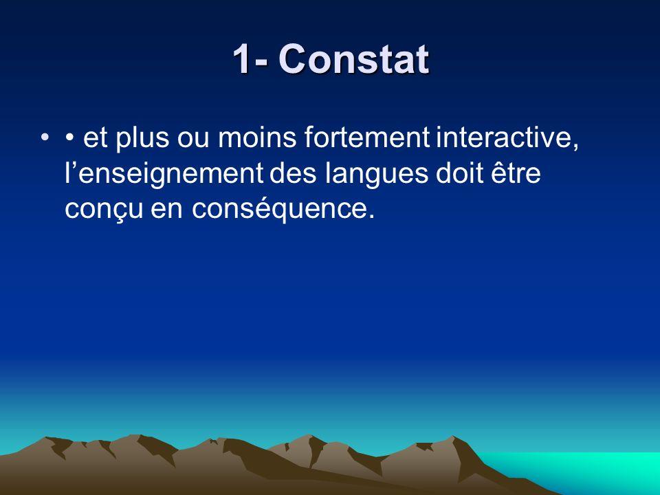 1- Constat et plus ou moins fortement interactive, lenseignement des langues doit être conçu en conséquence.