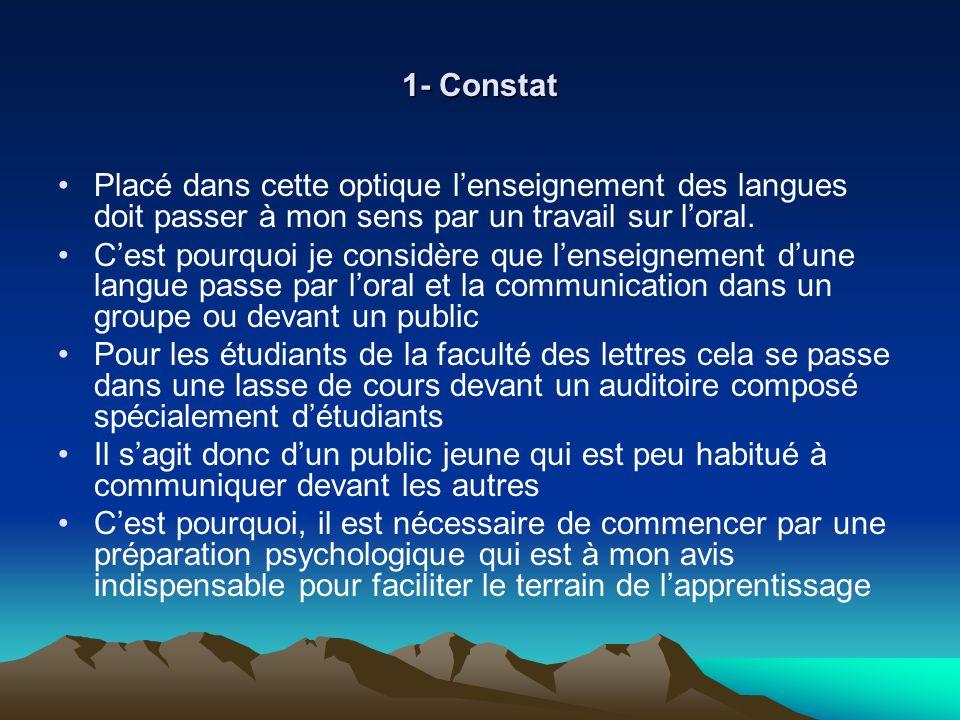 1- Constat Placé dans cette optique lenseignement des langues doit passer à mon sens par un travail sur loral. Cest pourquoi je considère que lenseign