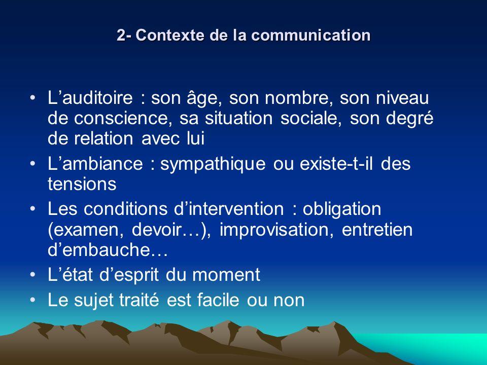 2- Contexte de la communication Lauditoire : son âge, son nombre, son niveau de conscience, sa situation sociale, son degré de relation avec lui Lambi