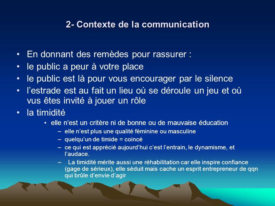 2- Contexte de la communication En donnant des remèdes pour rassurer : le public a peur à votre place le public est là pour vous encourager par le sil