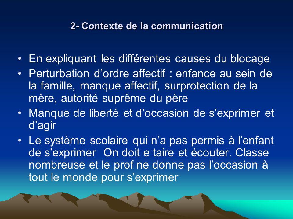 2- Contexte de la communication En expliquant les différentes causes du blocage Perturbation dordre affectif : enfance au sein de la famille, manque a