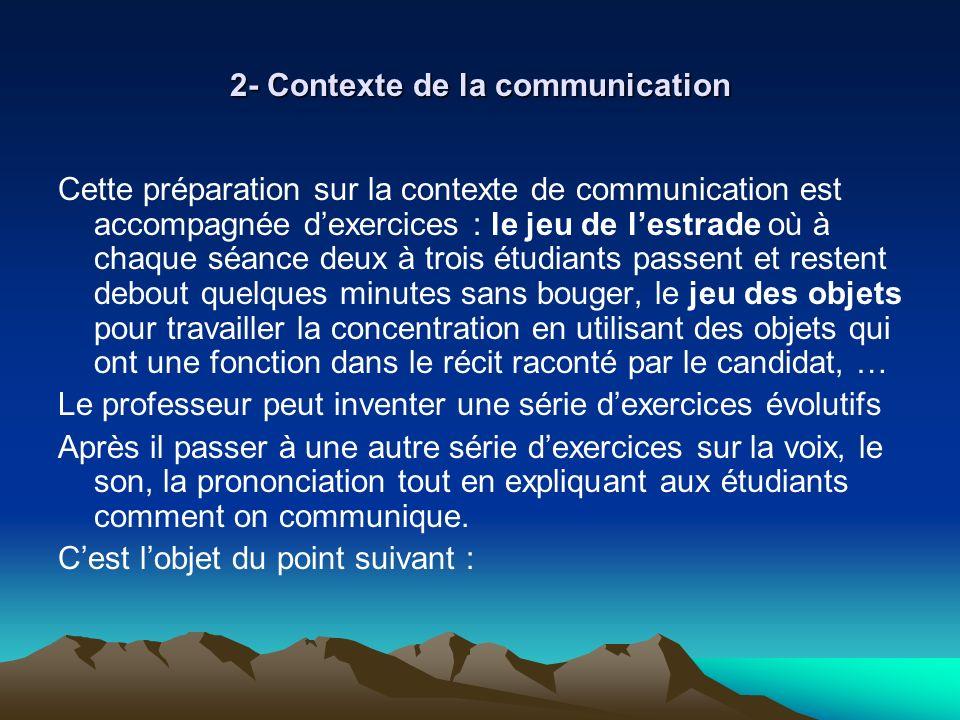 2- Contexte de la communication Cette préparation sur la contexte de communication est accompagnée dexercices : le jeu de lestrade où à chaque séance