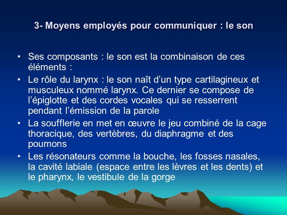 3- Moyens employés pour communiquer : le son Ses composants : le son est la combinaison de ces éléments : Le rôle du larynx : le son naît dun type car