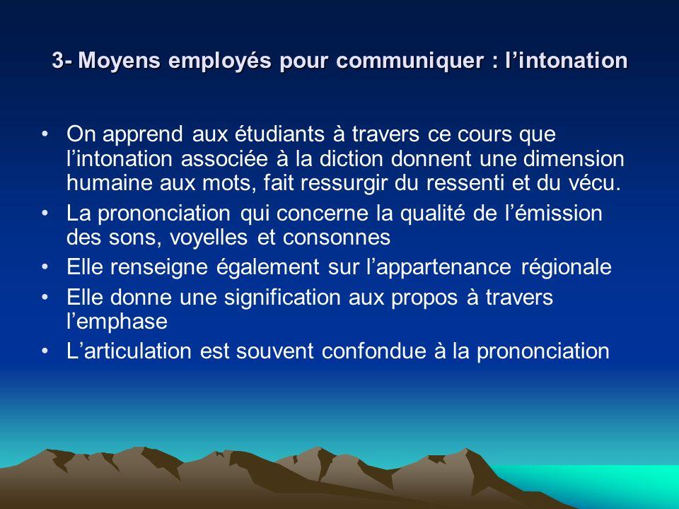 3- Moyens employés pour communiquer : lintonation On apprend aux étudiants à travers ce cours que lintonation associée à la diction donnent une dimens