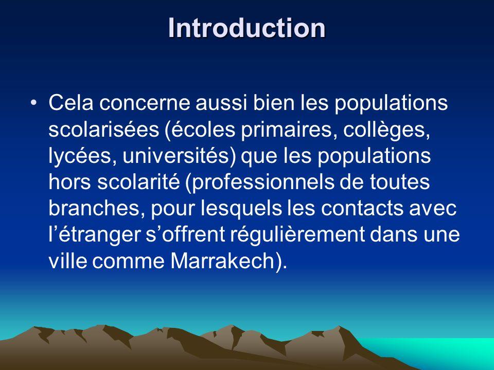 Introduction Cela concerne aussi bien les populations scolarisées (écoles primaires, collèges, lycées, universités) que les populations hors scolarité