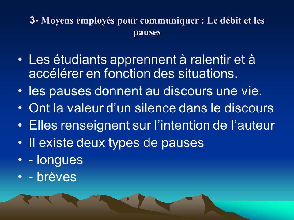 3- Moyens employés pour communiquer : Le débit et les pauses Les étudiants apprennent à ralentir et à accélérer en fonction des situations. les pauses