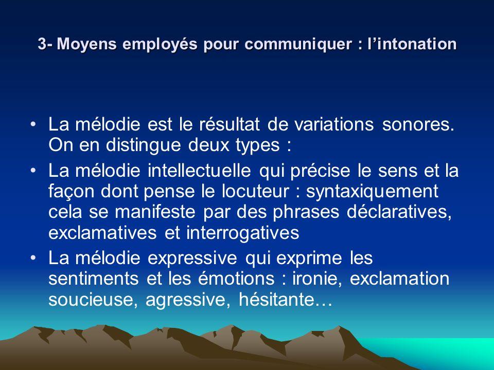 3- Moyens employés pour communiquer : lintonation La mélodie est le résultat de variations sonores. On en distingue deux types : La mélodie intellectu