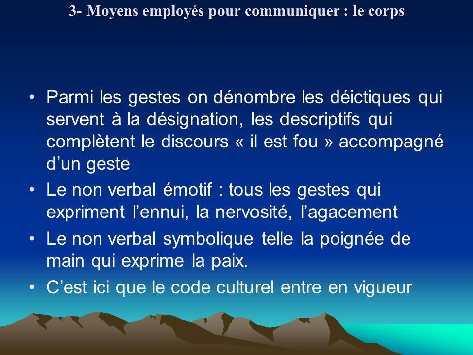 3- Moyens employés pour communiquer : le corps Parmi les gestes on dénombre les déictiques qui servent à la désignation, les descriptifs qui complèten