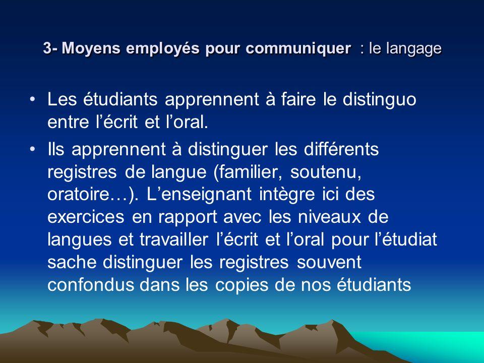3- Moyens employés pour communiquer : le langage Les étudiants apprennent à faire le distinguo entre lécrit et loral. Ils apprennent à distinguer les