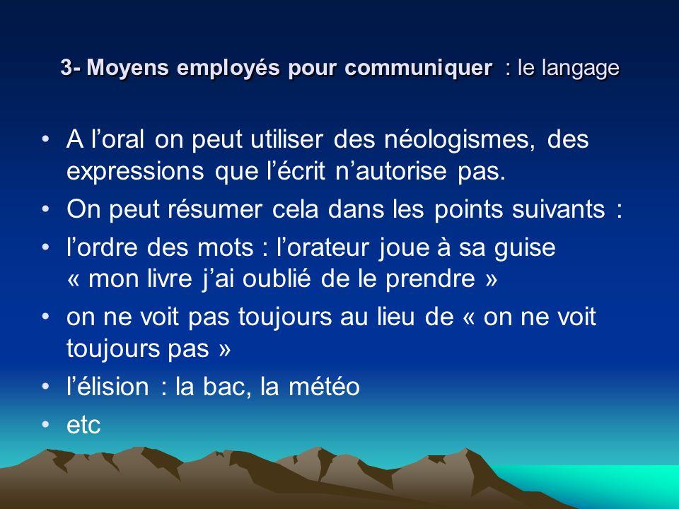 3- Moyens employés pour communiquer : le langage A loral on peut utiliser des néologismes, des expressions que lécrit nautorise pas. On peut résumer c