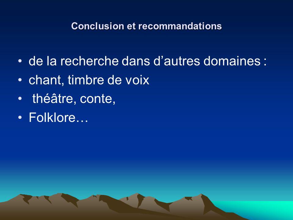 Conclusion et recommandations de la recherche dans dautres domaines : chant, timbre de voix théâtre, conte, Folklore…