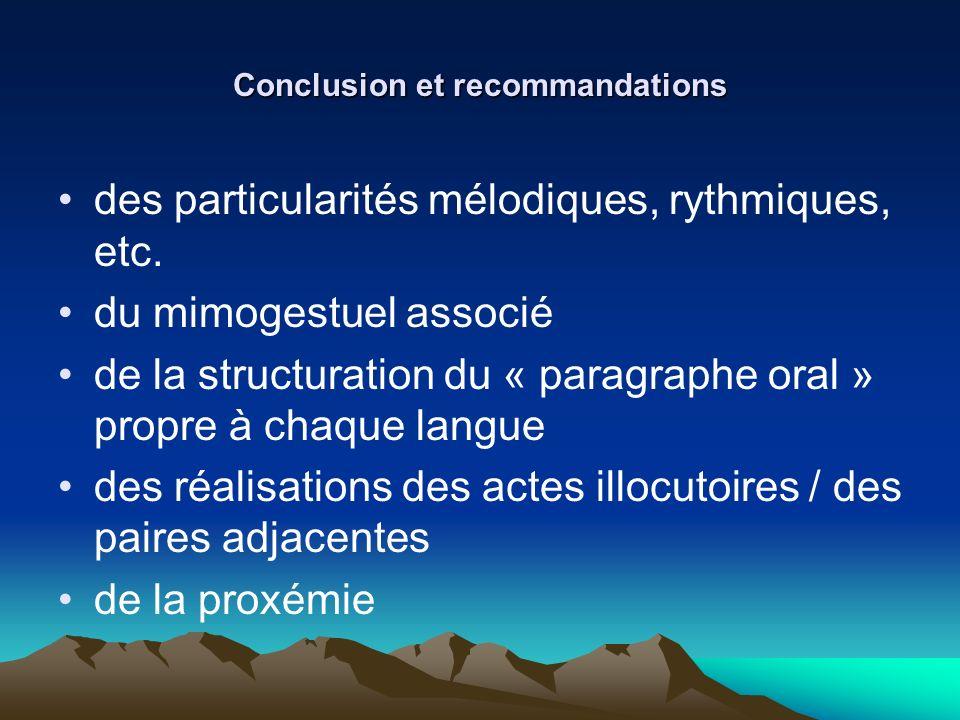 Conclusion et recommandations des particularités mélodiques, rythmiques, etc. du mimogestuel associé de la structuration du « paragraphe oral » propre