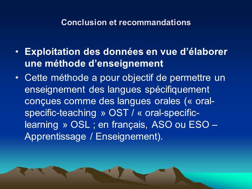 Conclusion et recommandations Exploitation des données en vue délaborer une méthode denseignement Cette méthode a pour objectif de permettre un enseig