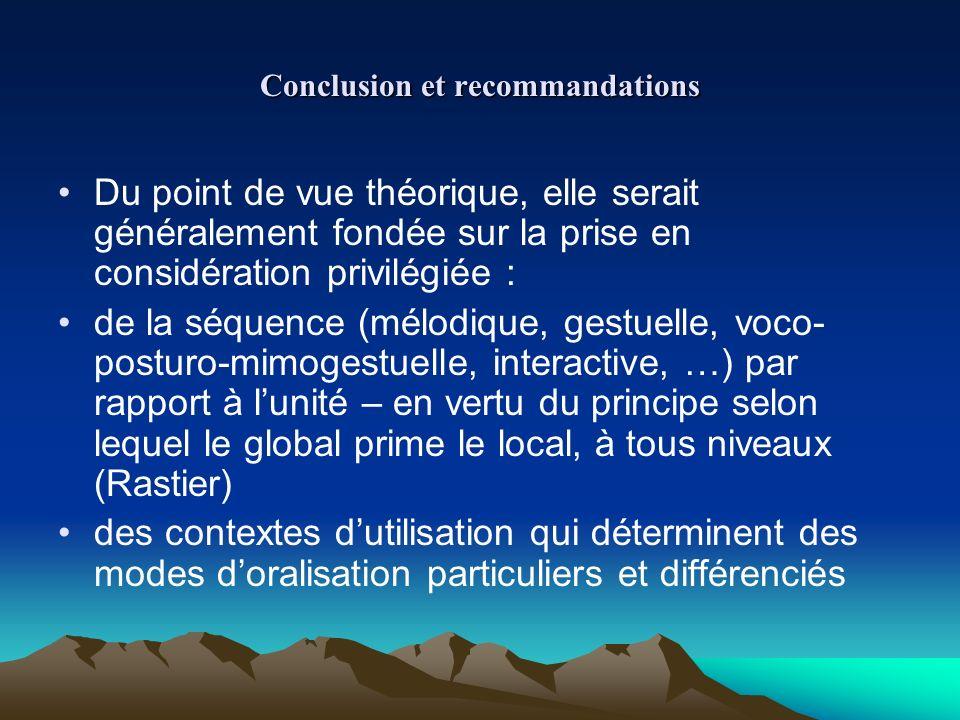 Conclusion et recommandations Du point de vue théorique, elle serait généralement fondée sur la prise en considération privilégiée : de la séquence (m