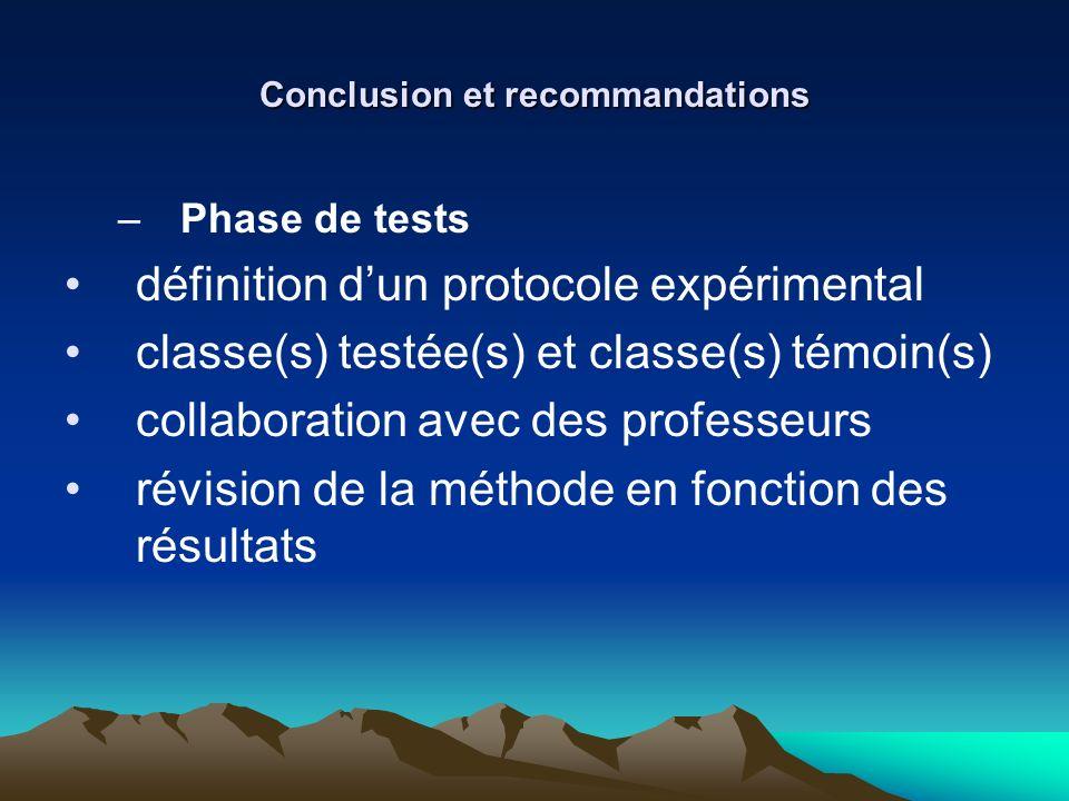 Conclusion et recommandations –Phase de tests définition dun protocole expérimental classe(s) testée(s) et classe(s) témoin(s) collaboration avec des