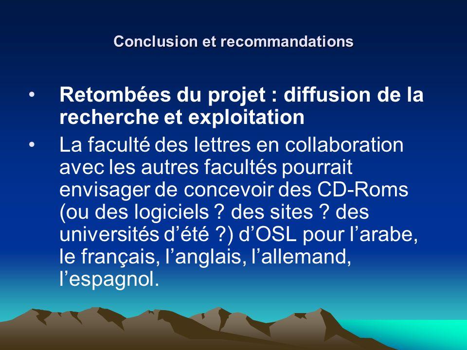 Conclusion et recommandations Retombées du projet : diffusion de la recherche et exploitation La faculté des lettres en collaboration avec les autres