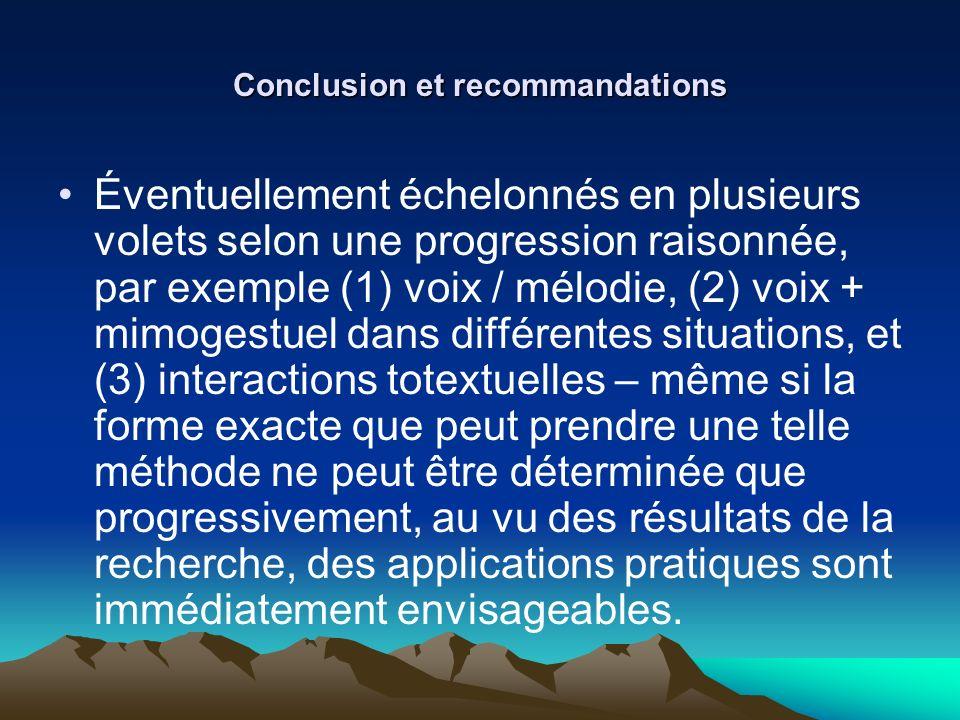 Conclusion et recommandations Éventuellement échelonnés en plusieurs volets selon une progression raisonnée, par exemple (1) voix / mélodie, (2) voix