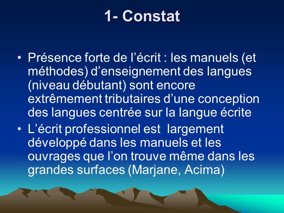 1- Constat Présence forte de lécrit : les manuels (et méthodes) denseignement des langues (niveau débutant) sont encore extrêmement tributaires dune c