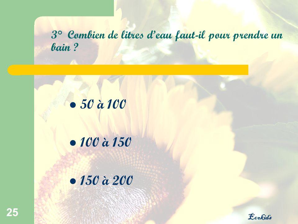 Ecokids 25 3° Combien de litres deau faut-il pour prendre un bain ? 50 à 100 100 à 150 150 à 200