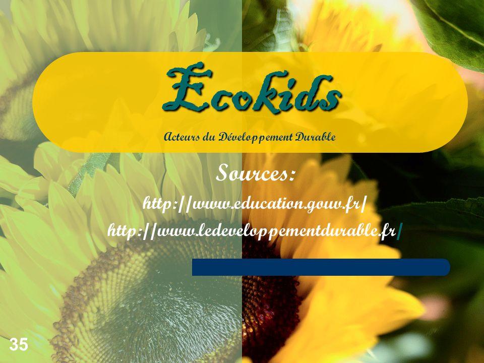 35 Sources: http://www.education.gouv.fr/ http://www.ledeveloppementdurable.fr/ Ecokids Ecokids Acteurs du Développement Durable