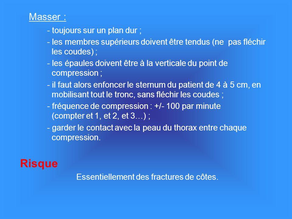 Masser : - toujours sur un plan dur ; - les membres supérieurs doivent être tendus (ne pas fléchir les coudes) ; - les épaules doivent être à la verticale du point de compression ; - il faut alors enfoncer le sternum du patient de 4 à 5 cm, en mobilisant tout le tronc, sans fléchir les coudes ; - fréquence de compression : +/- 100 par minute (compter et 1, et 2, et 3…) ; - garder le contact avec la peau du thorax entre chaque compression.