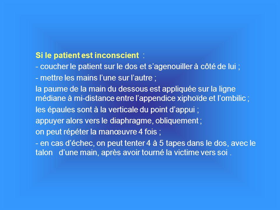 Si le patient est inconscient : - coucher le patient sur le dos et sagenouiller à côté de lui ; - mettre les mains lune sur lautre ; la paume de la ma