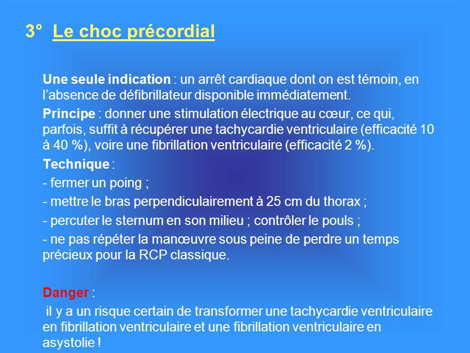 3° Le choc précordial Une seule indication : un arrêt cardiaque dont on est témoin, en labsence de défibrillateur disponible immédiatement.