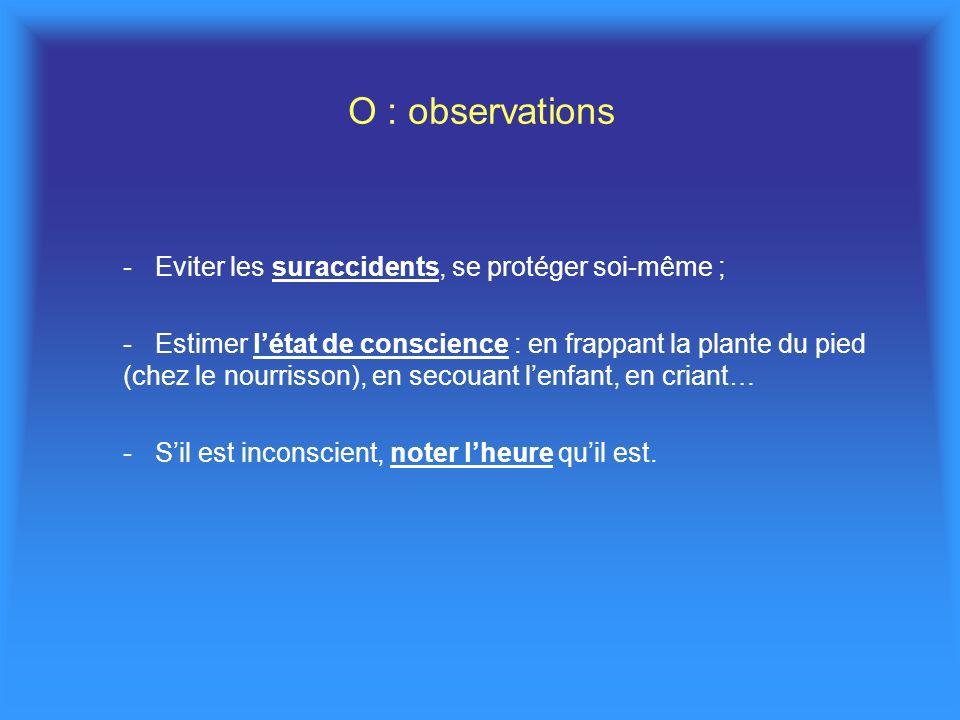 O : observations -Eviter les suraccidents, se protéger soi-même ; -Estimer létat de conscience : en frappant la plante du pied (chez le nourrisson), e
