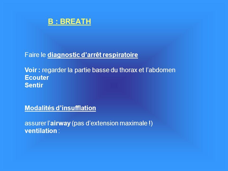 B : BREATH Faire le diagnostic darrêt respiratoire Voir : regarder la partie basse du thorax et labdomen Ecouter Sentir Modalités dinsufflation assurer lairway (pas dextension maximale !) ventilation :