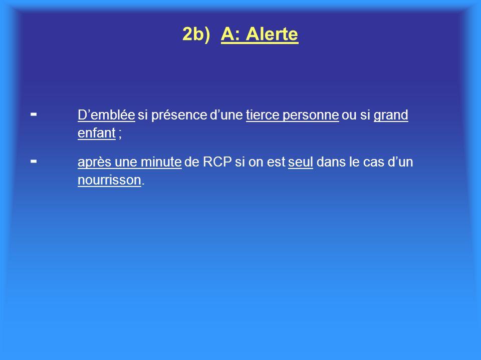2b) A: Alerte - Demblée si présence dune tierce personne ou si grand enfant ; - après une minute de RCP si on est seul dans le cas dun nourrisson.