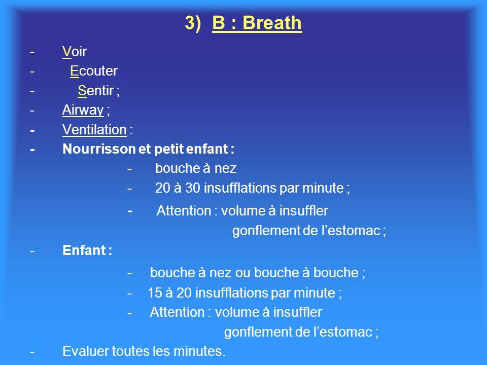 3) B : Breath -Voir - Ecouter - Sentir ; -Airway ; -Ventilation : -Nourrisson et petit enfant : - bouche à nez - 20 à 30 insufflations par minute ; - Attention : volume à insuffler gonflement de lestomac ; -Enfant : - bouche à nez ou bouche à bouche ; - 15 à 20 insufflations par minute ; - Attention : volume à insuffler gonflement de lestomac ; -Evaluer toutes les minutes.