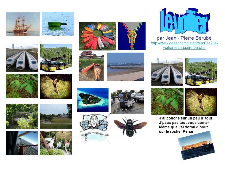 Viri: La chanson en cours de FLE - Le professeur de français: http://leprofesseurdefrancais.blogspot.com/ Slike - Imagiers.net: http://www.imagiers.net/?p=4 - prostodostopne slike www.google.com Glasba: http://www.goear.com/listen/b9d01a2/le-voilier-jean-pierre-berube http://www.goear.com/search.php?q=berube+le+voilier Pisno gradivo: besedila Bérubéjeva besedila pesmi s seminarja v Besançonu (julij, 2009) Jezerka B.