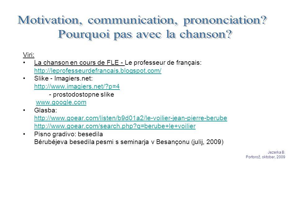 Viri: La chanson en cours de FLE - Le professeur de français: http://leprofesseurdefrancais.blogspot.com/ Slike - Imagiers.net: http://www.imagiers.ne