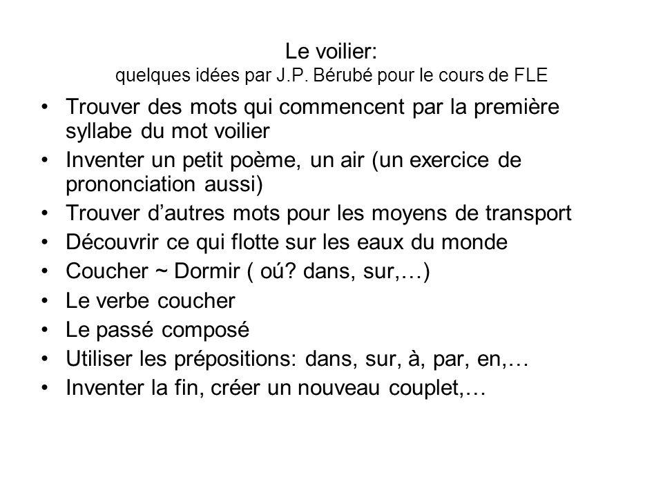 Le voilier: quelques idées par J.P. Bérubé pour le cours de FLE Trouver des mots qui commencent par la première syllabe du mot voilier Inventer un pet
