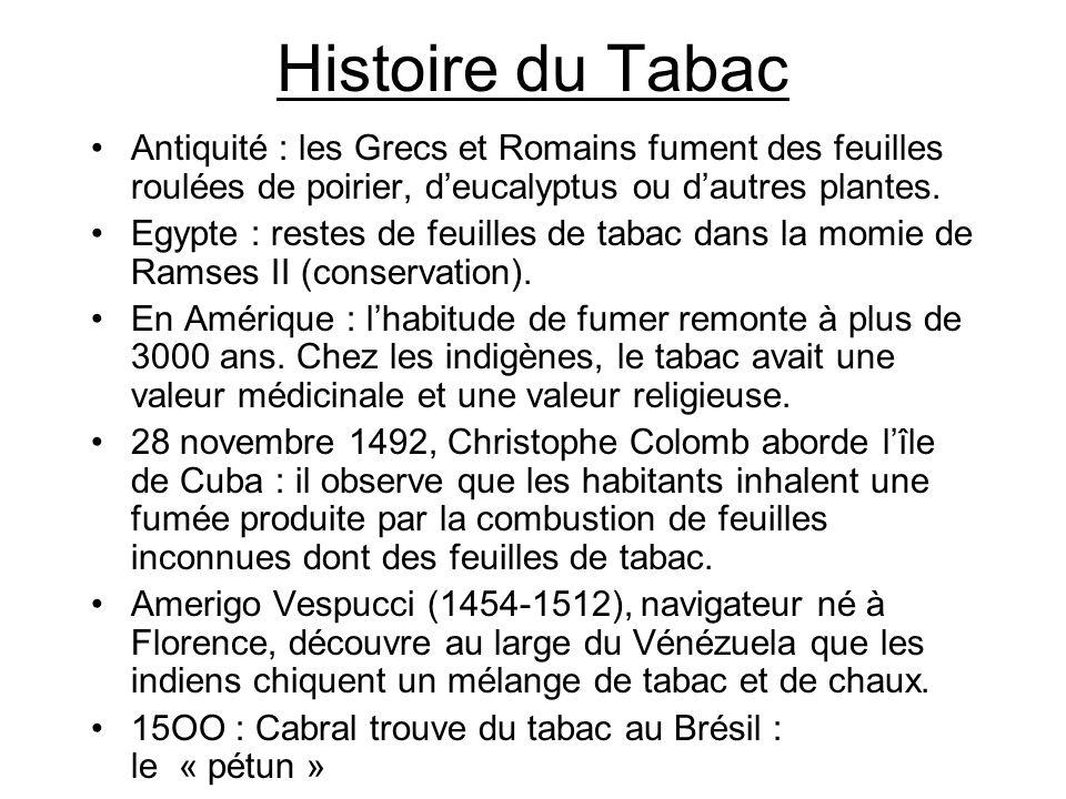 Histoire du Tabac 1518 : le tabac est planté au Portugal.
