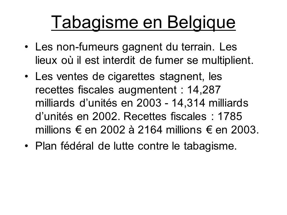 Tabagisme en Belgique Les non-fumeurs gagnent du terrain. Les lieux où il est interdit de fumer se multiplient. Les ventes de cigarettes stagnent, les