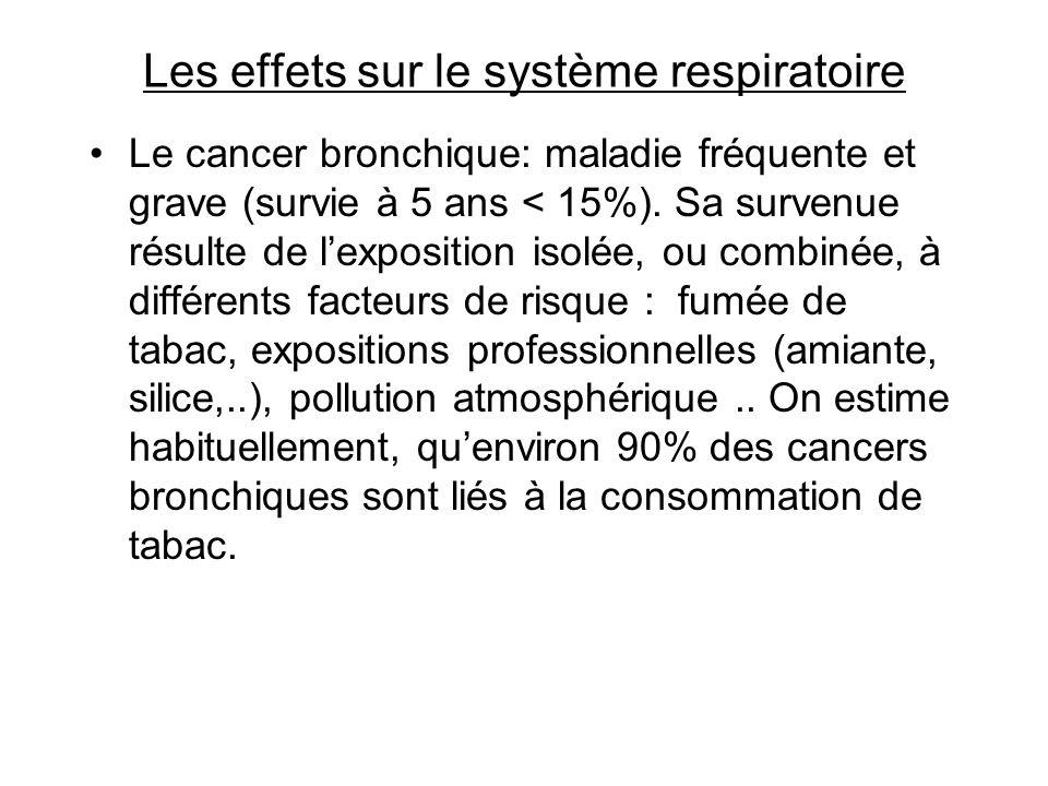 Les effets sur le système respiratoire Le cancer bronchique: maladie fréquente et grave (survie à 5 ans < 15%). Sa survenue résulte de lexposition iso