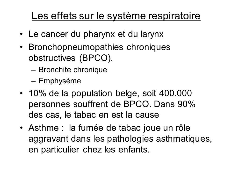 Les effets sur le système respiratoire Le cancer du pharynx et du larynx Bronchopneumopathies chroniques obstructives (BPCO). –Bronchite chronique –Em
