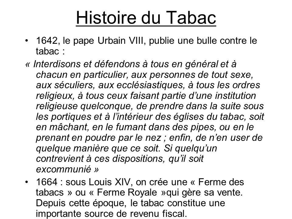 Histoire du Tabac 1642, le pape Urbain VIII, publie une bulle contre le tabac : « Interdisons et défendons à tous en général et à chacun en particulie