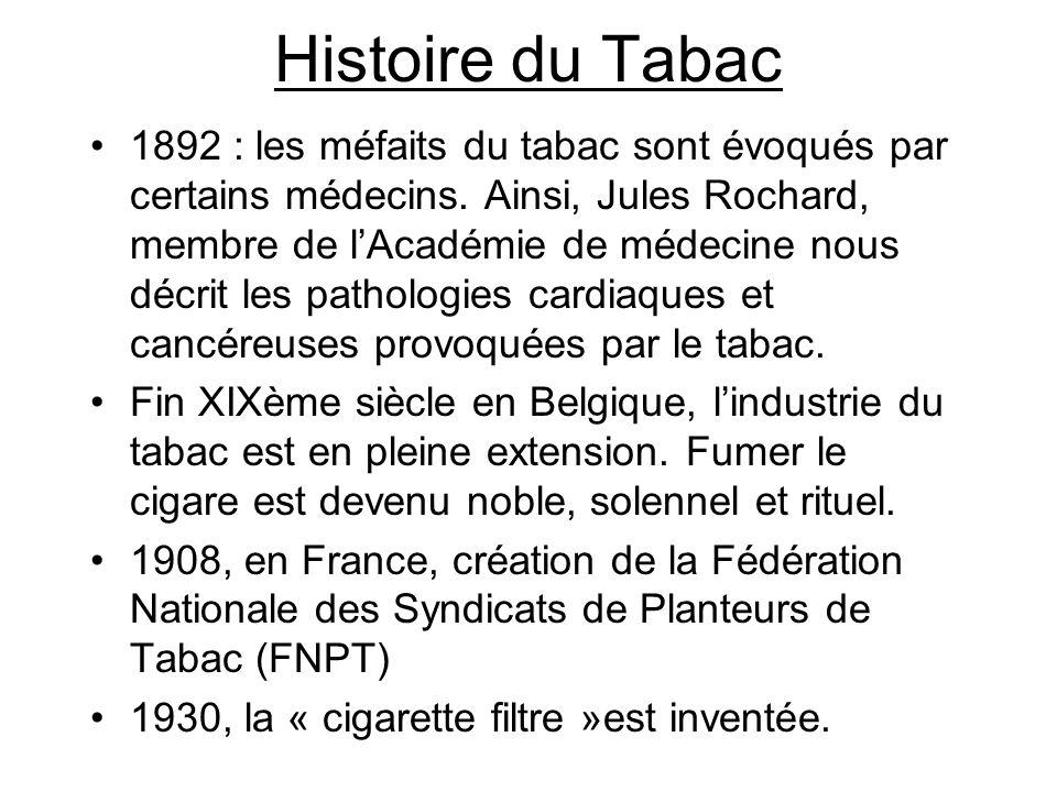 Histoire du Tabac 1892 : les méfaits du tabac sont évoqués par certains médecins. Ainsi, Jules Rochard, membre de lAcadémie de médecine nous décrit le