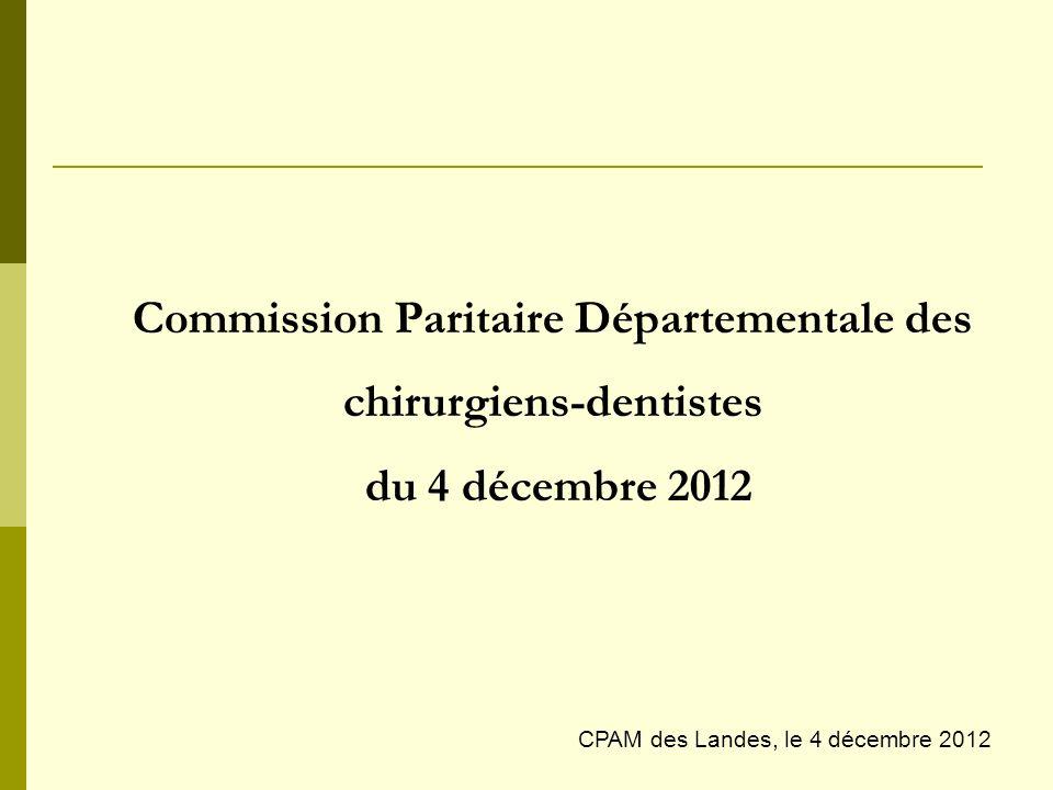 Commission Paritaire Départementale des chirurgiens-dentistes du 4 décembre 2012 CPAM des Landes, le 4 décembre 2012
