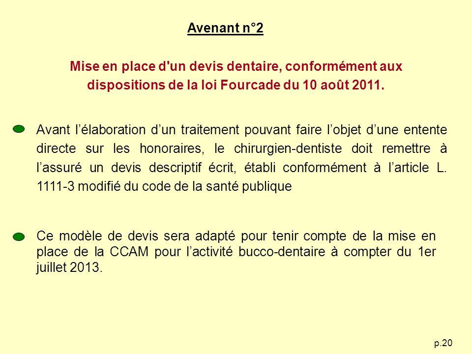 p.20 Avenant n°2 Mise en place d'un devis dentaire, conformément aux dispositions de la loi Fourcade du 10 août 2011. Avant lélaboration dun traitemen