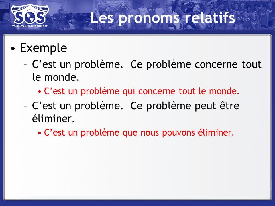 Les pronoms relatifs Exemple –Cest un problème. Ce problème concerne tout le monde. Cest un problème qui concerne tout le monde. –Cest un problème. Ce